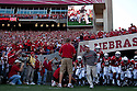 26 September 2009: Nebraska Head Coach leads the team on to the field for the 300th consecutive sellout at Memorial Stadium, Lincoln, Nebraska. Nebraska defeats Louisiana Lafayette 55 to 0.