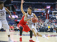 Washington, DC - March 10, 2018: St. Bonaventure Bonnies guard Jaylen Adams (3) drives to the basket during the Atlantic 10 semi final game between St. Bonaventure and Davidson at  Capital One Arena in Washington, DC.   (Photo by Elliott Brown/Media Images International)
