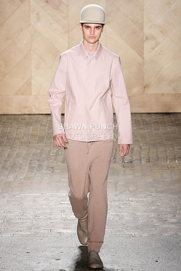 Ben Lark walks runway in an outfit from the Perry Ellis by Duckie Brown Spring Summer 2013 collection, during New York Fashion Week Spring 2013.