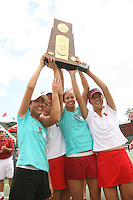 23 May 2006: Joanna Kao, Alice Barnes, Jessica Leck and Amber Liu hold the trophy after Stanford's 4-1 win over the Miami Hurricanes in the 2006 NCAA Division 1 Women's Tennis Team Championships at the Taube Family Tennis Stadium in Stanford, CA.