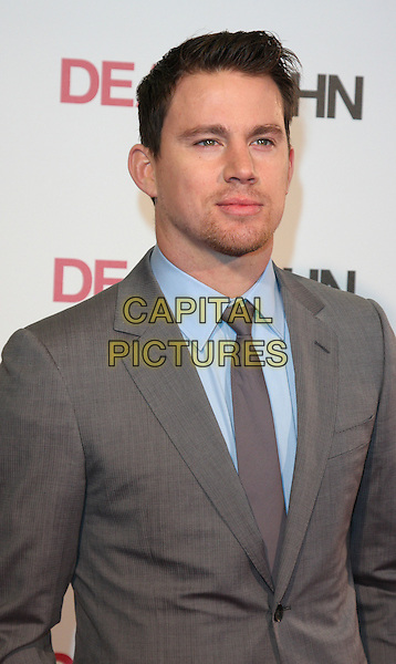 CHANNING TATUM .UK Gala Screening of 'Dear John' at the Odeon, Kensington, London, England, UK, March 30th 2010.arrivals half length blue shirt tie brown suit jacket beard facial hair goatee .CAP/ROS.©Steve Ross/Capital Pictures.