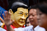 JUNE 29, 2019 - A protestor wears a mask of Chinese President Xi Jinping at a demonstration during the G20 Summit in Osaka, Japan. (Photo by Ben Weller/AFLO) (JAPAN) [UHU]
