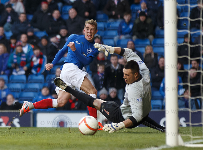 Dean Shiels scores the opening goal past Elgin City keeper John Gibson