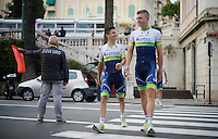 Johan Esteban Chaves (COL/Orica-GreenEDGE) & Brett Lancaster (AUS/Orica-GreenEDGE) returning from the Giro 2015 Official Team Presentation (in San Remo)