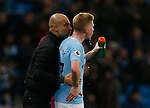 Josep Guardiola manager of Manchester City talks to Kevin De Bruyne of Manchester City during the premier league match at the Etihad Stadium, Manchester. Picture date 3rd December 2017. Picture credit should read: Andrew Yates/Sportimage