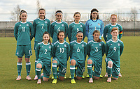 20180314 - TUBIZE , BELGIUM : German team Johanna Wende (1)   Lena eichler (2)   Carlotte Wamser (3)   Katharina Piljic (4)   Josefine Ness (5)   Clara Ria Frohlich (6)   Emily Tichelkamp (7)   Lisanne Grawe (8)   Natasha Kowalski (9)   Maya Sternad (10)   Franziska Kett (11)   pictured during the friendly female soccer match between Women under 15 teams of  Belgium and Gemany , in Tubize , Belgium . Wednesday 14 th March 2018 . PHOTO SPORTPIX.BE / DIRK VUYLSTEKE