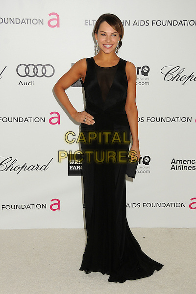 Charity Shea.20th Annual Elton John Academy Awards Viewing Party held at West Hollywood Park, West Hollywood, California, USA..February 26th, 2012.full length black dress sleeveless sheer clutch bag hand on hip.CAP/ADM/BP.©Byron Purvis/AdMedia/Capital Pictures.
