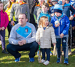 Scariff Community College manager Sean Mc Namara with his children Sive and Riain during the cup presentation following their All-Ireland Colleges final win over St Fergal's at Toomevara. Photograph by John Kelly.