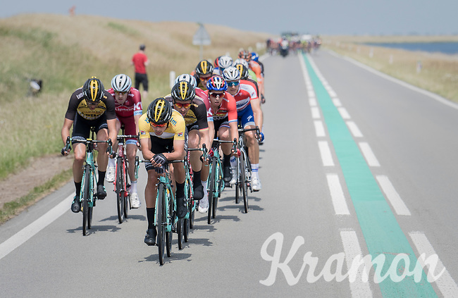 When exposed to the heavy sea winds, Team LottoNL-Jumbo forces the peloton to break into echelons with yellow jersey / GC leader Primoz Roglic (SVK/LottoNL-Jumbo) taking to the front himself.<br /> <br /> Ster ZLM Tour (2.1)<br /> Stage 2: Tholen &gt; Hoogerheide (186.8km)