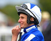 Jockey Ryan Moore during the Bathwick Tyres & EBF Race Day at Salisbury Racecourse on 6th September 2018