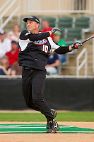 Bob Vandergriff (10) of Team NHRA follows through on his swing against Team NASCAR in the NASCAR vs NHRA Charity Softball Challenge at CMC-Northeast Stadium on April 17, 2013 in Kannapolis, North Carolina.  Team NHRA defeated Team NASCAR 19-5.  (Brian Westerholt/Four Seam Images)