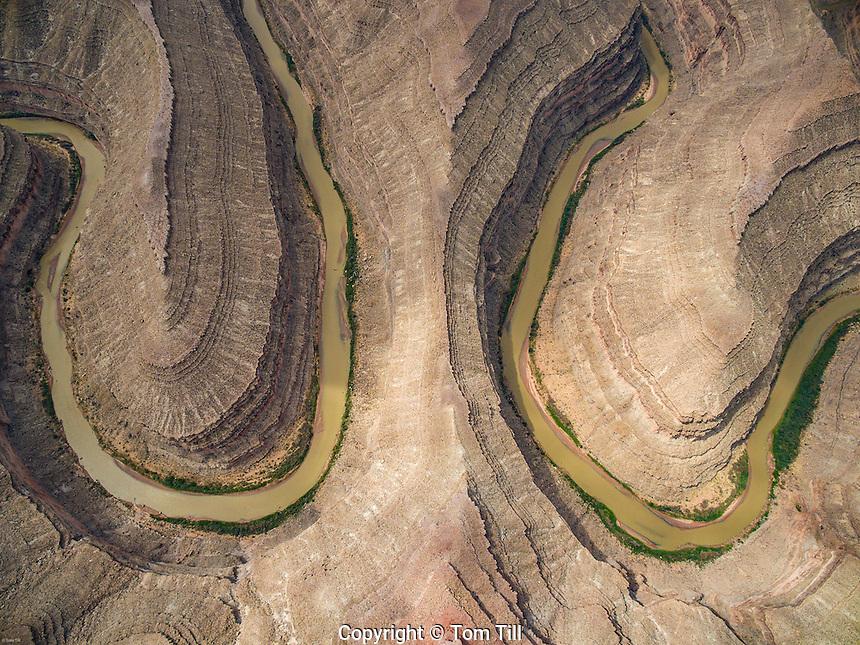 Goosenecks of the San Juan State Park, Utah Aerial view Sharp river bends on San Juan River
