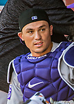 14 April 2018: Colorado Rockies catcher Tony Wolters chats in the dugout prior to a game against the Washington Nationals at Nationals Park in Washington, DC. The Nationals rallied to defeat the Rockies 6-2 in the 3rd game of their 4-game series. Mandatory Credit: Ed Wolfstein Photo *** RAW (NEF) Image File Available ***
