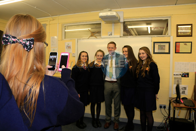 Colm Cooper speaking to the students in the Sacred Heart school.<br /> Picture www.newsfile.ie