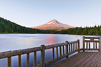 Mount Hood and fishing pier, Trillium Lake, Mt.Hood National Forest, Oregon