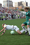 25 April 2009: Kendall Fletcher (left) of the Los Angeles Sol is bumped off the ball by Elise Weber (12) of Saint Louis Athletica.  Saint Louis Athletica tied the visiting Los Angeles Sol 0-0  in a regular season Women's Professional Soccer game at Robert R. Hermann Stadium at St. Louis University, St. Louis, Missouri.