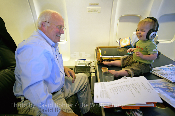 VP Cheney: spends time alone with grandchild Richard Jonathan Perry in state room while aboard Air Force Two en route to Washington.