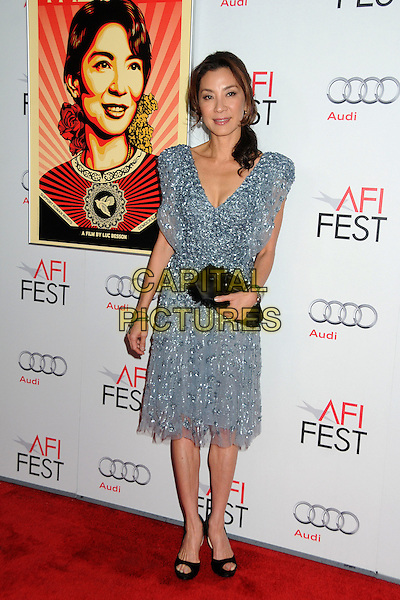 """Michelle Yeoh.AFI Fest 2011 Gala Screening of """"The Lady"""" held at Grauman's Chinese Theatre, Hollywood, California, USA..November 4th, 2011.full length blue silver grey gray beads beaded dress black clutch bag.CAP/ADM/BP.©Byron Purvis/AdMedia/Capital Pictures."""
