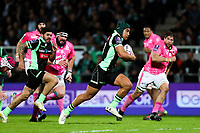 Benson Stanley of Pau runs to score a try during the Challenge Cup match between Section Paloise and Stade Francais on March 30, 2018 in Pau, France. (Photo by Manuel Blondeau/Icon Sport)
