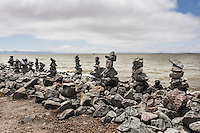 Rock Balancing - an art form or hobby.  Rocky creations rise along the rocky shores of the San Leandro Marina on San Francisco Bay.