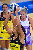 Aliyah Dunn shoots for goal during the ANZ Premiership netball match between the Central Pulse and Northern Stars at Te Rauparaha Arena in Wellington, New Zealand on Wednesday, 3 April 2019. Photo: Dave Lintott / lintottphoto.co.nz