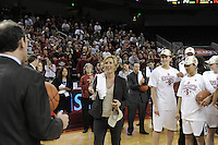 March 14, 2010. Assistant Coach Kate Paye receives her game ball after the Stanford Cardinal beat the UCLA Bruins to win the 2010 Pac-10 Tournament.