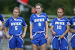 07 October 2007: Duke's Jane Alukonis (5), Kelly Hathorn (6), and CJ Ludemann (10). The Duke University Blue Devils defeated the North Carolina State University Wolfpack 1-0 at Method Road Soccer Stadium in Raleigh, North Carolina in an Atlantic Coast Conference NCAA Division I Women's Soccer game.