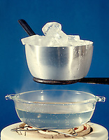 THREE STATES OR PHASES OF WATER<br /> Solid Ice, Vapor &amp; Liquid<br /> Steam rises from water heated to boiling on an electric hot plate and condenses on cold aluminum metal pot filled with ice cubes.