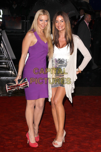 "LIZ FULLER & JO-EMMA LARVIN .""Red"" UK film premiere, Royal Festival Hall, Southbank Centre, London, England, UK, 19th October 2010. .full length purple dress sleeveless pink shoes peep toe union jack clutch bag silver sequined sequin mini cardigan  platform white cream patent heels hand on hip .CAP/AH.©Adam Houghton/Capital Pictures."