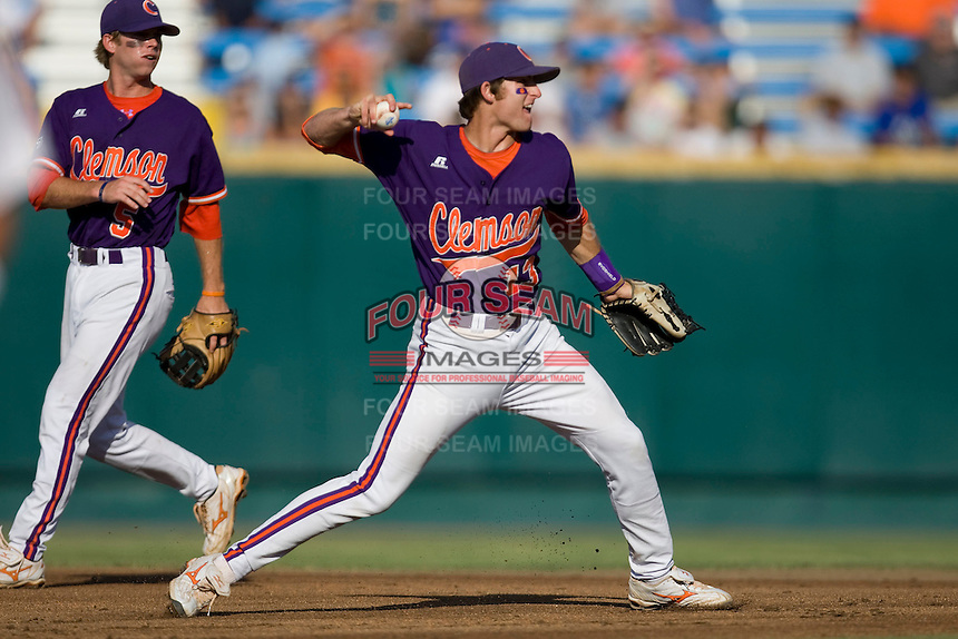 Clemson SS Brad Miller in Game 14 of the NCAA Division One Men's College World Series on June 26th, 2010 at Johnny Rosenblatt Stadium in Omaha, Nebraska.  (Photo by Andrew Woolley / Four Seam Images)