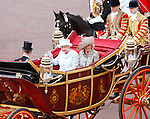 """QUEEN, PRINCE CHARLES AND CAMILLA.ride in the carriage procession from Westminster Hall to Buckingham Palace, on the occasion of the Queen's Diamond Jubilee Celebration_London_05/06/2012.Mandatory Credit Photo: ©SB/NEWSPIX INTERNATIONAL..**ALL FEES PAYABLE TO: """"NEWSPIX INTERNATIONAL""""**..IMMEDIATE CONFIRMATION OF USAGE REQUIRED:.Newspix International, 31 Chinnery Hill, Bishop's Stortford, ENGLAND CM23 3PS.Tel:+441279 324672  ; Fax: +441279656877.Mobile:  07775681153.e-mail: info@newspixinternational.co.uk"""