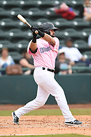 Hickory Crawdads Right Fielder Tanner Gardner (27) bats during the game with the Charleston Riverdogs at L.P. Frans Stadium on May 12, 2019 in Hickory, North Carolina.  The Riverdogs defeated the Crawdads 13-5. (Tracy Proffitt/Four Seam Images)