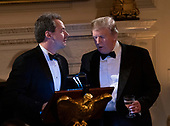 United States President Donald J. Trump introduces Governor Steve Bullock (Democrat of Montana) to offer a toast at the 2019 Governors' Ball in the State Dining Room at the White House in Washington, DC on Sunday, February 24, 2019.<br /> Credit: Chris Kleponis / Pool via CNP