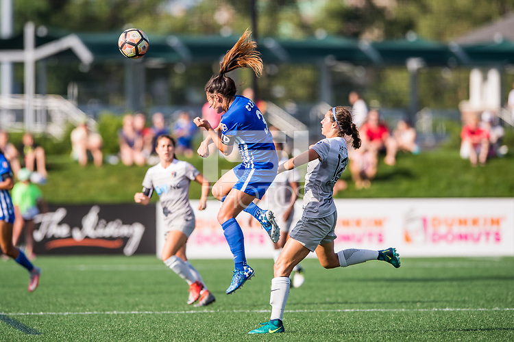 Boston, MA - Saturday June 24, 2017: Brooke Elby and Ashley Hatch during a regular season National Women's Soccer League (NWSL) match between the Boston Breakers and the North Carolina Courage at Jordan Field.