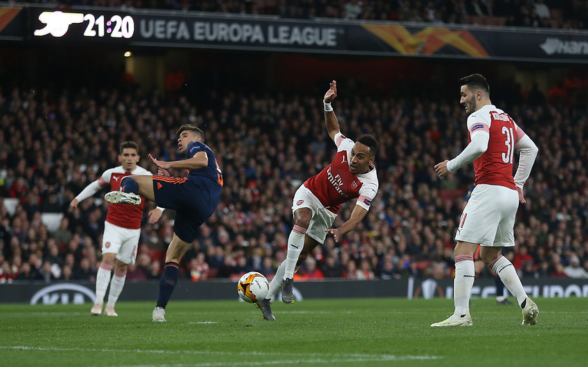 Arsenal's Pierre-Emerick Aubameyang with a second half shot<br /> <br /> Photographer Rob Newell/CameraSport<br /> <br /> UEFA Europa League Semi-final 1st Leg - Arsenal v Valencia - Thursday 2nd May 2019 - The Emirates - London<br />  <br /> World Copyright © 2018 CameraSport. All rights reserved. 43 Linden Ave. Countesthorpe. Leicester. England. LE8 5PG - Tel: +44 (0) 116 277 4147 - admin@camerasport.com - www.camerasport.com