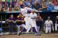 LSU Tiger outfielder Raph Rhymes (4) swings the bat during Game 4 of the 2013 Men's College World Series against the UCLA Bruins on June 16, 2013 at TD Ameritrade Park in Omaha, Nebraska. UCLA defeated LSU 2-1. (Andrew Woolley/Four Seam Images)