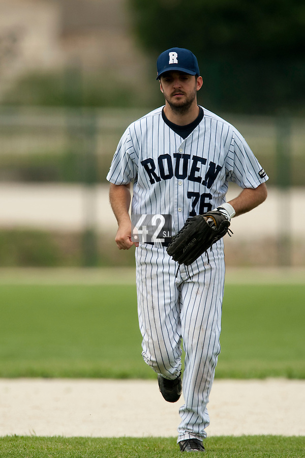 21 May 2009: Flavien Peron of Rouen is seen during the 2009 challenge de France, a tournament with the best French baseball teams - all eight elite league clubs - to determine a spot in the European Cup next year, at Montpellier, France.