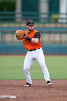 GCL Orioles third baseman Trevor Putzig (43) throws to first base during a Gulf Coast League game against the GCL Braves on August 5, 2019 at Ed Smith Stadium in Sarasota, Florida.  GCL Orioles defeated the GCL Braves 4-3 in the first game of a doubleheader.  (Mike Janes/Four Seam Images)