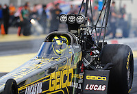 Mar. 12, 2012; Gainesville, FL, USA; NHRA top fuel dragster driver Morgan Lucas during the Gatornationals at Auto Plus Raceway at Gainesville. The race is being completed on Monday after rain on Sunday. Mandatory Credit: Mark J. Rebilas-