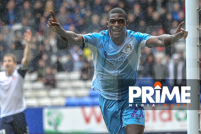 Amadou Bakayoko (Coventry City) celebrates a disallowed goal during the Sky Bet League 1 match between Bolton Wanderers and Coventry City at the University of Bolton Stadium, Bolton, England on 10 August 2019. Photo by James  Gill / PRiME Media Images.
