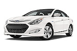 Stock pictures of low aggressive front three quarter view of a 2015 Hyundai Sonata  Hybrid 4 Door Sedan