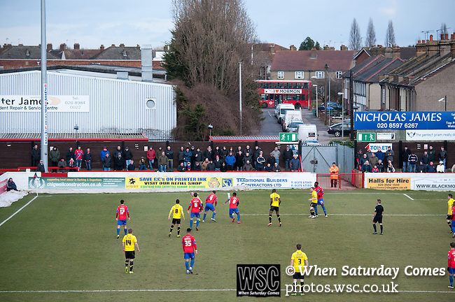 Dagenham and Redbridge 1 Burton Albion 3, 21/02/2015. Victoria Road, League Two. Burton Albion moved to the top of League Two following a hard-fought win over Dagenham & Redbridge played in-front of 1,718 supporters. Photo by Simon Gill.