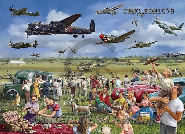 Marcello, LANDSCAPES, LANDSCHAFTEN, PAISAJES,picknick,planes,british,english,spitfire,puzzle,vintage, paintings+++++,ITMCEDM1078,#L# ,puzzles