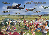 Marcello, LANDSCAPES, LANDSCHAFTEN, PAISAJES,picknick,planes,british,english,spitfire,puzzle,vintage, paintings+++++,ITMCEDM1078,#L#