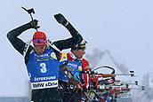 17th March 2019, Ostersund, Sweden; IBU World Championships Biathlon, day 9, mass start men; Arnd Peiffer (GER) at the shooting range