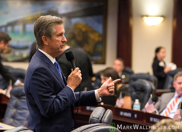 Jim Boyd, R-Bradenton, discusses the drug Fentanyl during Florida House of Representatives floor debate at the Florida Capitol in Tallahassee, Florida.