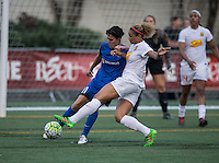 Seattle, WA - Saturday July 16, 2016: Keelin Winters, Lynn Williams during a regular season National Women's Soccer League (NWSL) match between the Seattle Reign FC and the Western New York Flash at Memorial Stadium.