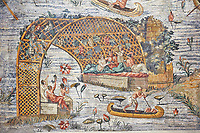 Detail picture of a canoe on the flooded Nile  the Nile  from the famous Roman Hellenistic Nilotic landscape Roman Palestrina Mosaic or Nile mosaic of Palestrina 1st or 2nd century BC. Museo Archeologico Nazionale di Palestrina Prenestino  (Palestrina Archaeological Museum), Palestrina, Italy.