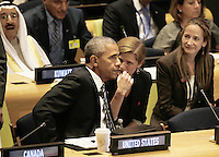 United States President Barack Obama (L) speaks with Samantha Power, United States Ambassador to the United Nations, at a Leaders Summit for Refugees during the United Nations 71st session of the General Debate at the United Nations General Assembly at United Nations headquarters in New York, New York, USA, 20 September 2016. Photo Credit: Peter Foley/CNP/AdMedia