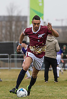 Scott Saunders (The Apprentice 2015) in action during the SOCCER SIX Celebrity Football Event at the Queen Elizabeth Olympic Park, London, England on 26 March 2016. Photo by Andy Rowland.